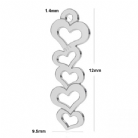 Sterling Silver 12x10mm 5 Heart Charm Penadnt